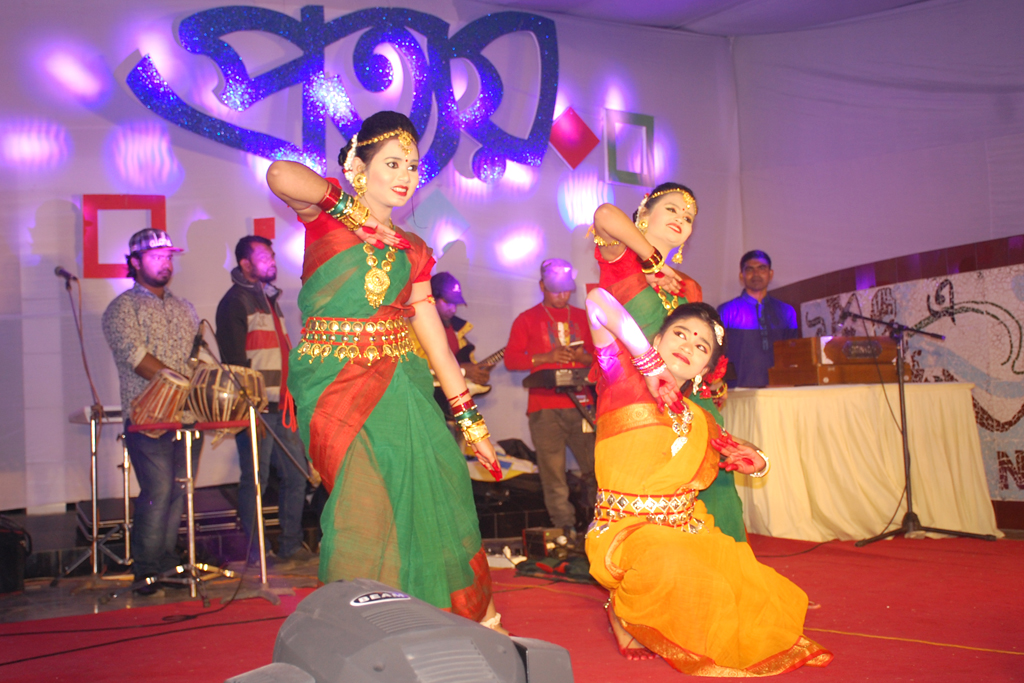 Students are presenting dance in the annual cultural program 'Prottoy', 2018.